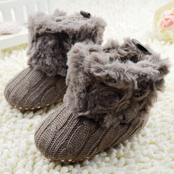 Baby Shoes Infants Crochet Knit Fleece Boots Toddler