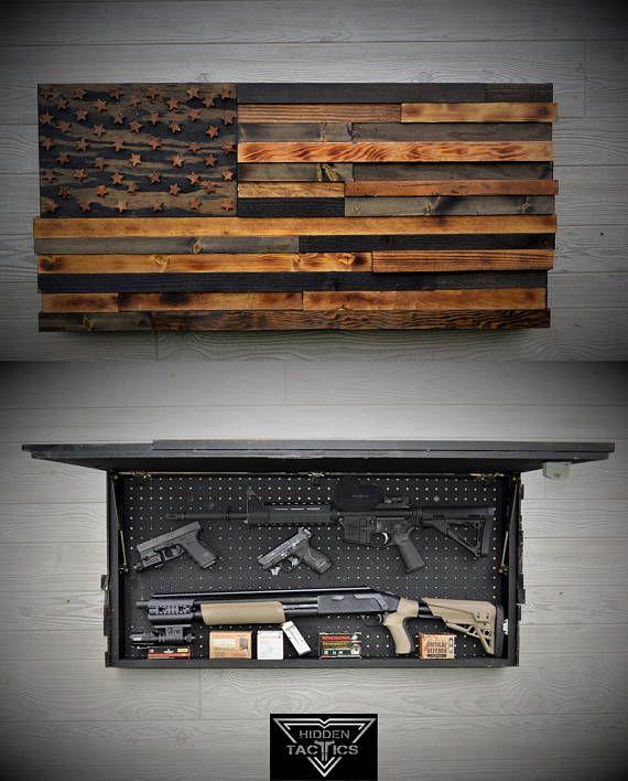 Hidden Gun Case The Torched American Flag RAISED  Gun cases