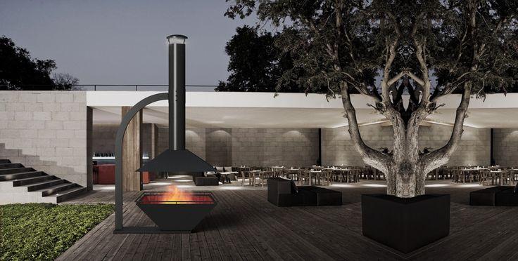 ESTIA DESIGN Caminus 1100 Fireplace -  contemporary open outdoor fireplace.