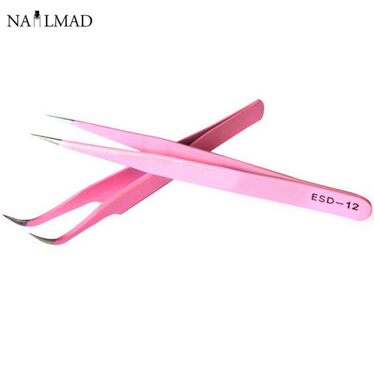 2 stücke Gerade + Gebogene Pinzette Nail art Falsche Falschen Wimpern Verlängerung Pinzette Zangen Spitzen Clip Nagelkunstwerkzeuge