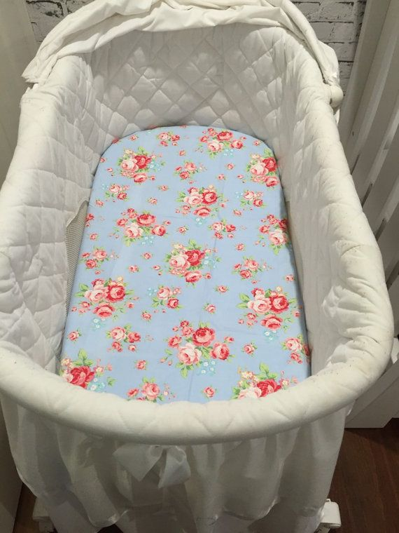 Fitted bassinet sheet girl nursery by Savannahandthree on Etsy