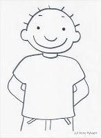 Stippen en strepen en, of tekenen op Jules zijn t-shirt