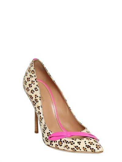 DSQUARED - 120MM AYERS LEOPARD PRINTED BOW PUMPS - LUISAVIAROMA - LUXURY SHOPPING WORLDWIDE SHIPPING - FLORENCE