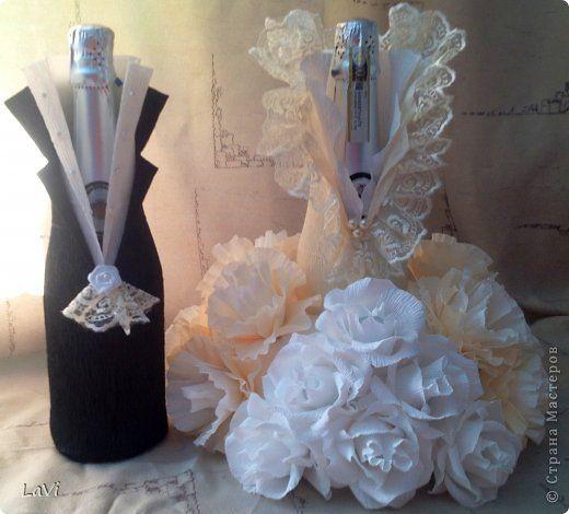 Свит-дизайн 8 марта Свадьба Бумагопластика Бутылочка на праздник Бумага гофрированная фото 6