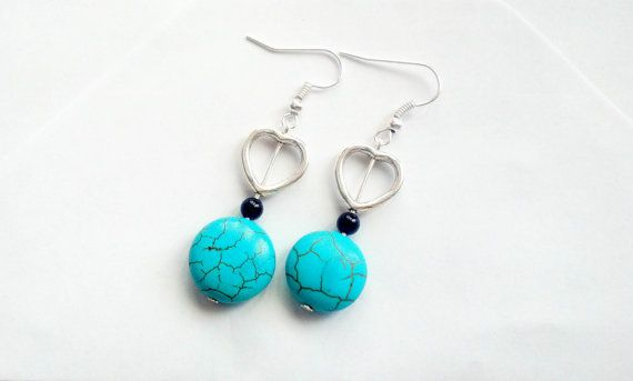 Turquoise earrings Boho earrings Dangle earrings Onyx by CatiShop