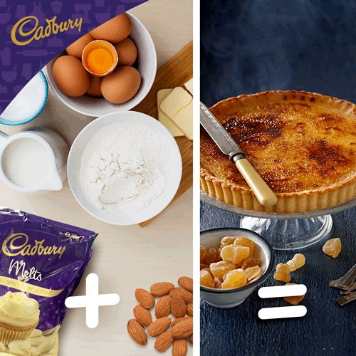 4 egg yolks + flour + cream + CADBURY White Chocolate Melts. Science can be so delicious with this White Chocolate Ginger Crème Brûlée Tart, the perfect warming treat to brighten up your week!  #bakeitcadbury #scienceweek #baking #chocolate #dessert