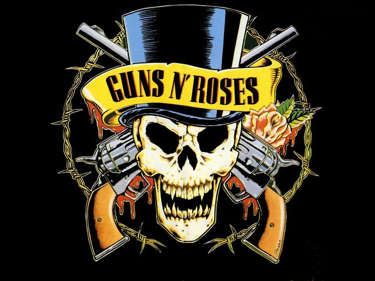 guns and roses metal group skull graphic design