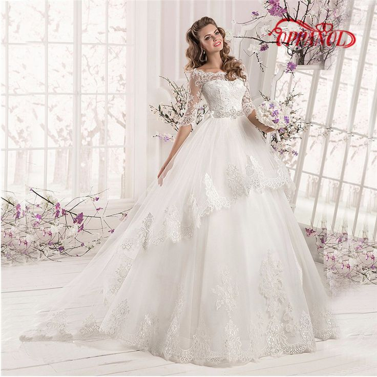 WD65 vestido de noiva Elegant Half Sleeve Wedding Dresses 2017 Boat Neck Applique Lace Bridal Gowns With Lace Up Bow Back