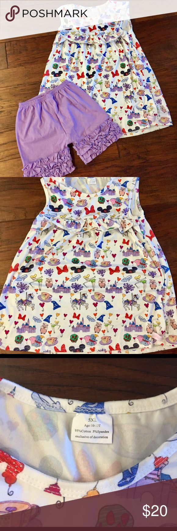Adorable Disney print swing top/dress and shorts EEUC. Worn once. Perfect for Disney!!! SO cute! Size 10-12 Matching Sets
