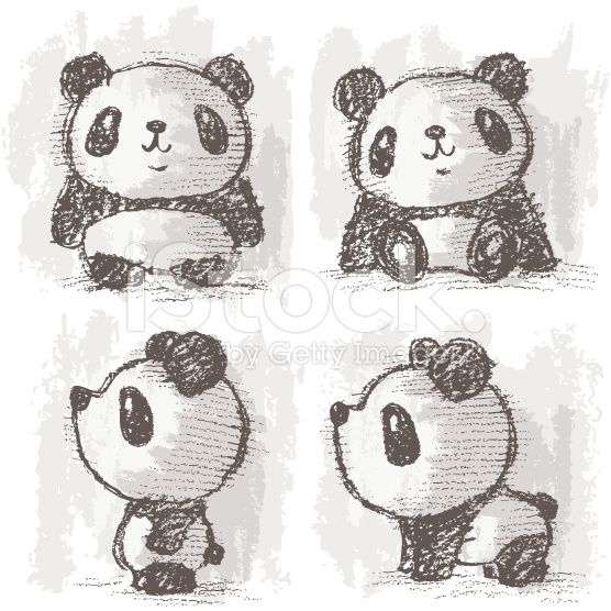 Four Poses Of Panda Banque Dillustrations Vectorielles Libre De