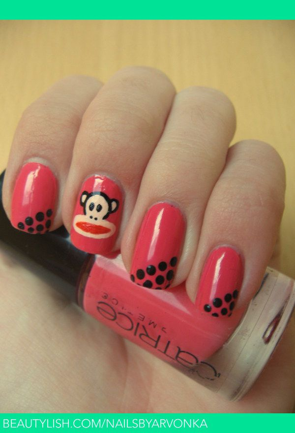 We love these coral Paul Frank themed nails for summer!