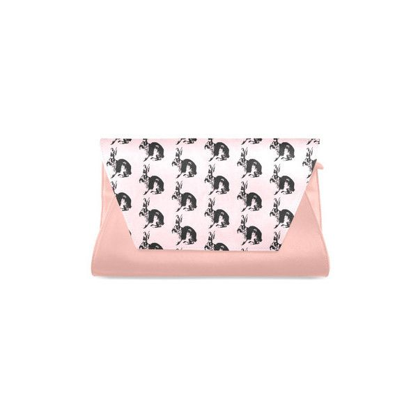 Pink Cute Bunny Pattern Clutch Bag (Model 1630) ($28) ❤ liked on Polyvore featuring bags, handbags, clutches, bunny purse, pink handbags, pink purse and pink clutches