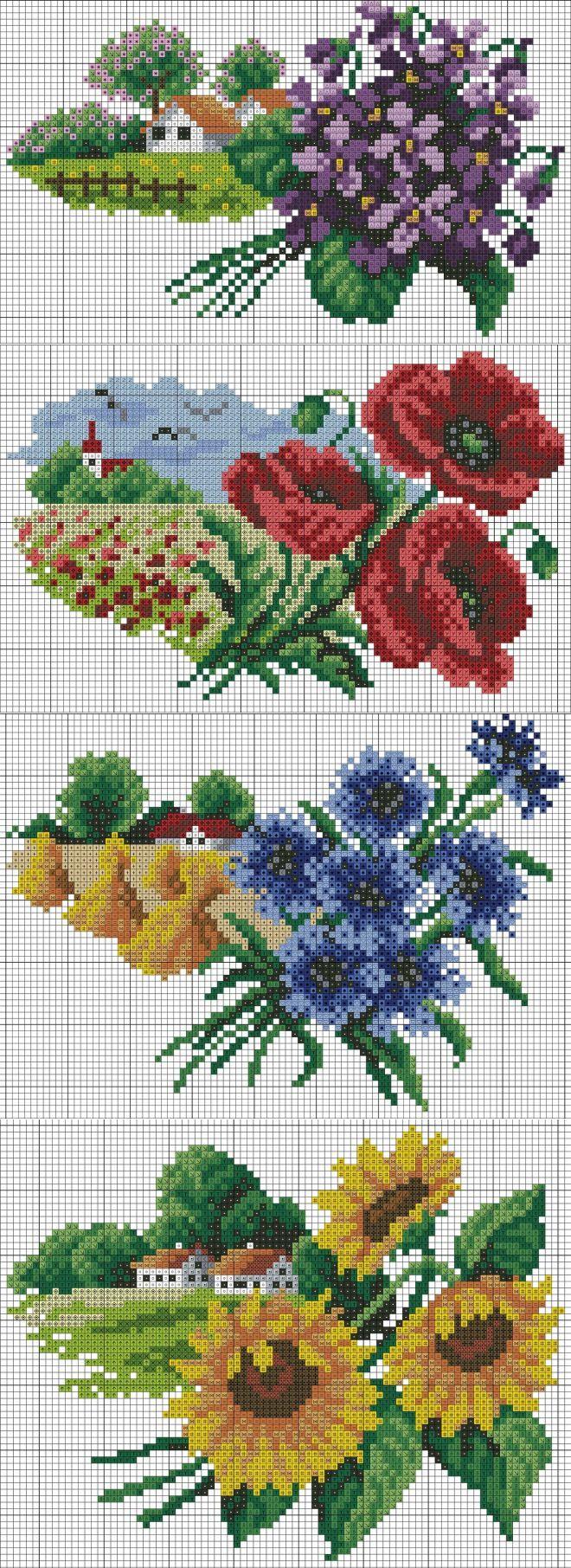 Пейзажи природа(вышивка)цветочный календарь.