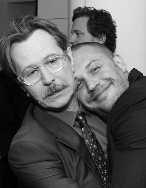 Gary Oldman, Tom Hardy and Colin Firth - if I got the chance to hug on Gary, I'd be smiling like that too =)