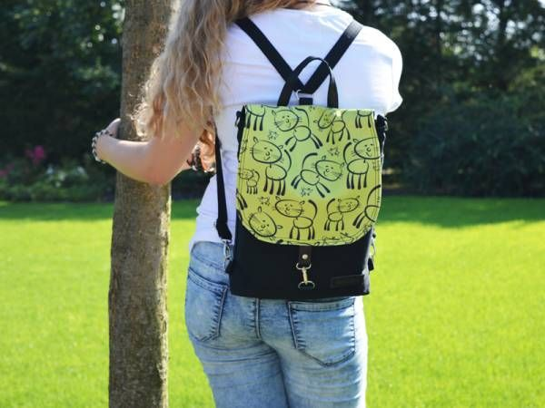 Black Canvas and Lime Hand Printed Canvas Backpack