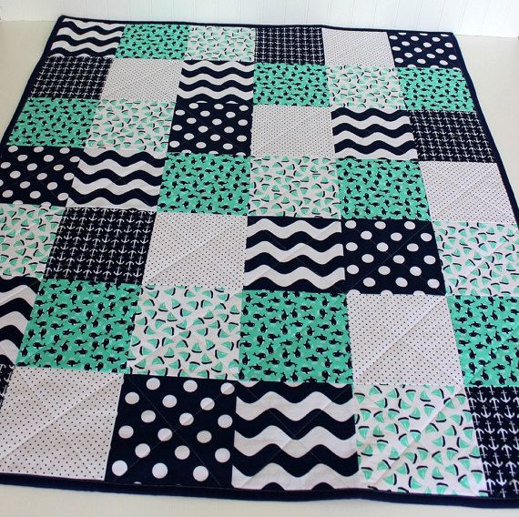 Homemade Baby Quilts~Nautical Whale Quilt~Baby Boy Quilt~Modern Baby Quilt~Crib…