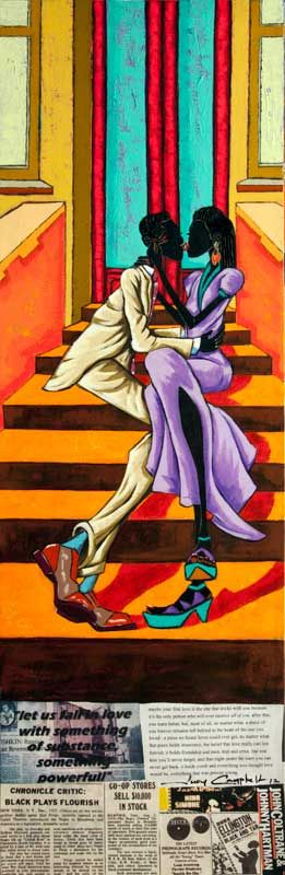 Stoop Kiss, 2012 Mixed Media on Canvas 10 x 30 2300.00  SOLD