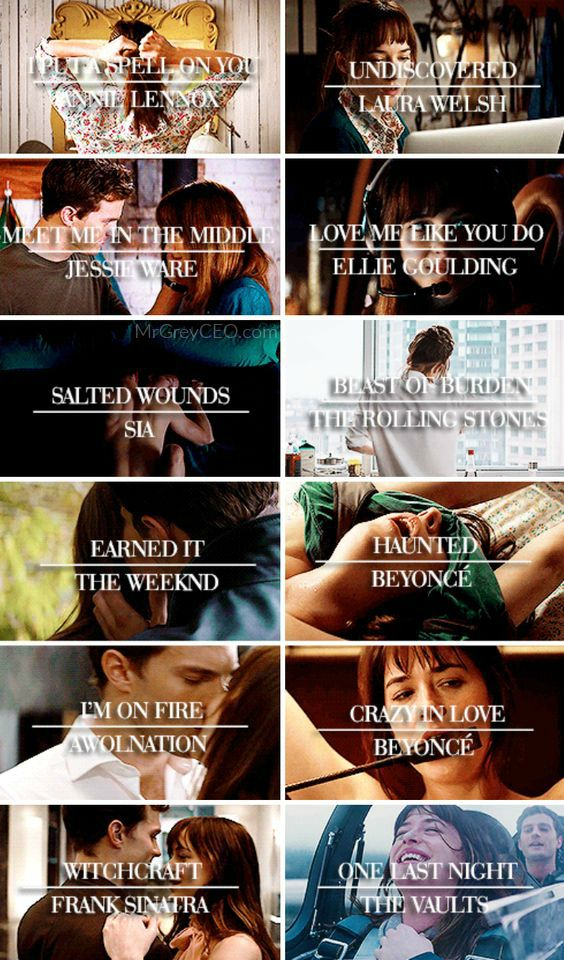 Can't remember which song played during certain scenes in #FiftyShadesofGrey? Check out this #FiftyShades soundtrack collage!
