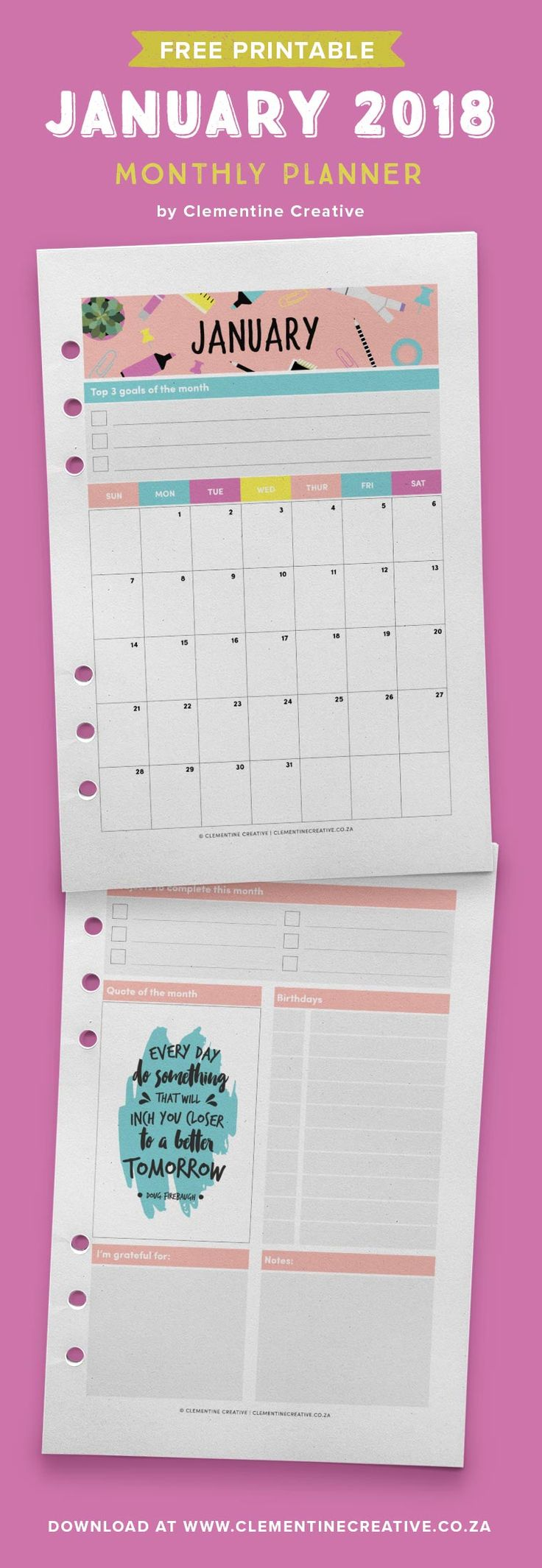Free printable January 2018 calendar and monthly planner. Available in A4, A5, Personal and Pocket sizes. Get yours by signing up!