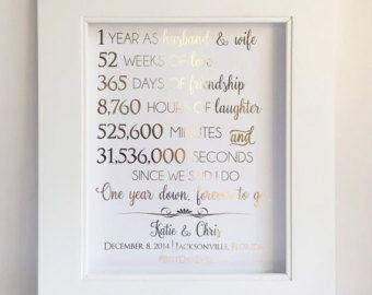1 º primer papel de regalo de aniversario - regalo de aniversario - para la impresión de hoja de oro Real - personalizable - esposo o esposa - aniversario