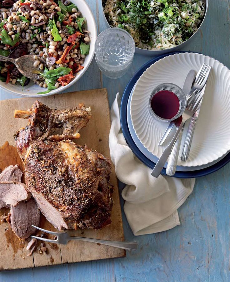 Slow-roasted lamb with salad of black-eyed peas and herbs by Lyndey Milan from Lyndey & Blair's Taste of Greece | Cooked