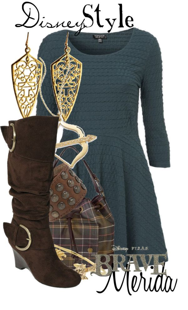 """Disney Style : Merida"" by missm26 on Polyvore- Love the boots and accessories, not too fond of the dress"