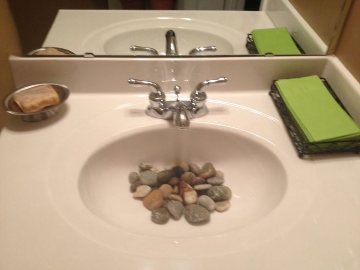 River rock in guest bathroom to minimize splash  Cute addition. 59 best Rock s  N  My Bathroom Sink images on Pinterest   Bathroom