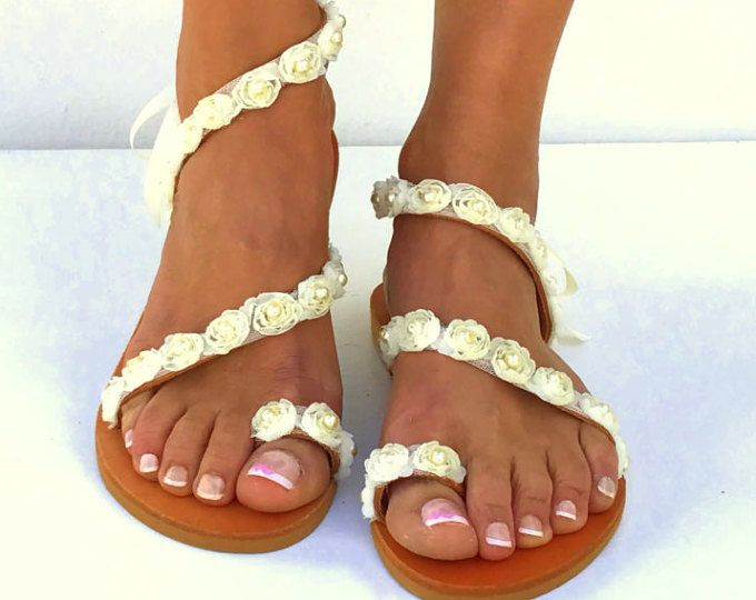 Ivory Roses Bridal sandals, White Beach Wedding Sandals, pearl sandals, Greek Sandals, barefoot sandals, Genuine leather shoes, Summer shoes