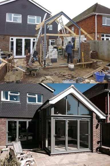 This incredible transformation has helped to bring in natural daylight to their home. Here we have installed powder coated aluminium bi-folding doors, featuring a gable frame above. #bifolds #doors #gable #aluminium #benchmarkwindows #doubleglazing #transformation