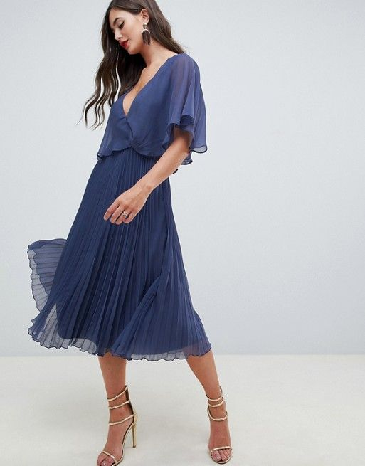 2ed7061ca ASOS Tall | ASOS DESIGN Tall flutter sleeve midi dress with pleat skirt