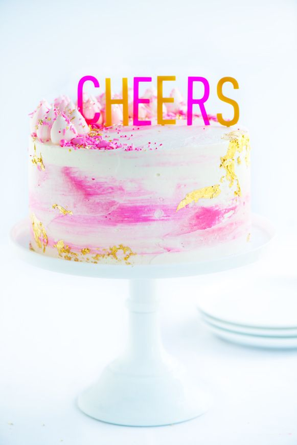 Watercolor Buttercream Party Cake