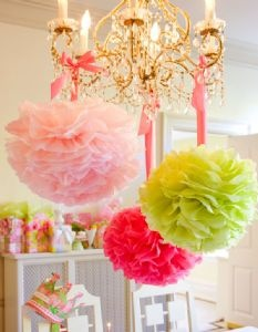 wedding shower - hanging from the umbrellas if we have them? or from the patio? So pretty and the DIY ones are super cheap! Could use for down the aisle too!