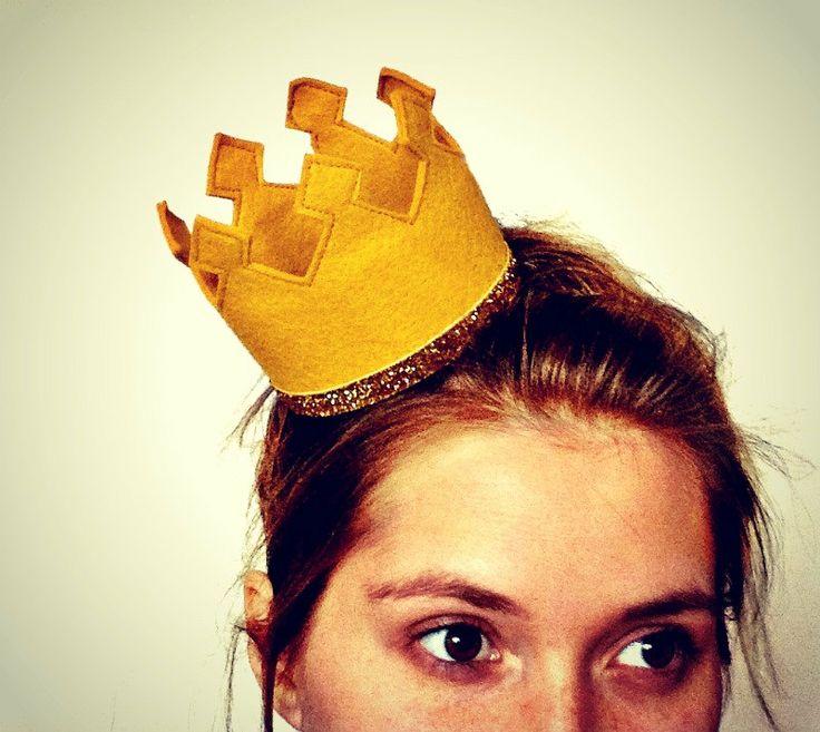 Gold Crown Felt Crown Headband Gold Glitter. $18.00, via Etsy.