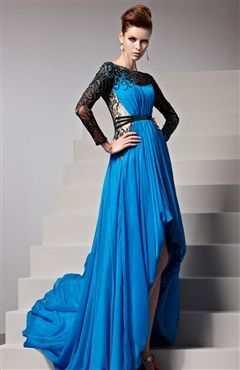 Illusion Top Contrast Lace Embellished Gathered Ruching Hi-Lo Formal Dress