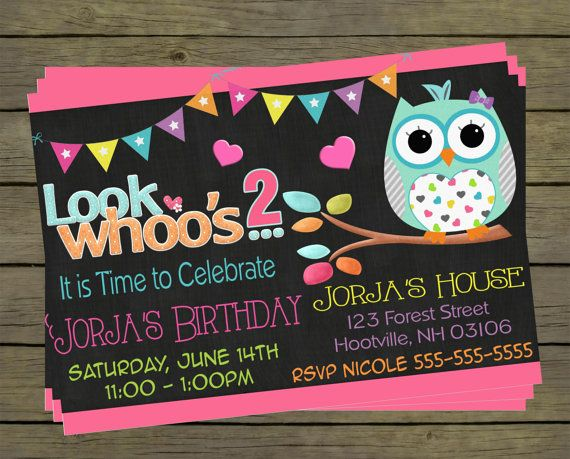 Cute Owl Digital Birthday Invitation  Party by PYOpartyinvites