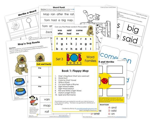 FREE BOB Book Printables: Set 3, Books 1 and 2 from this Reading Mama