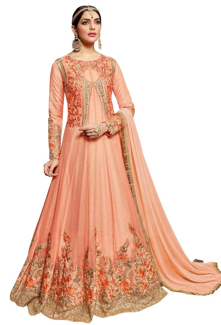 Light #Orange #Georgette #Bridal #Anarkali Salwar Suit  #fullsleeves #salwarkameez #suit #nikvik #sale #dress #designer #usa #australia #canada