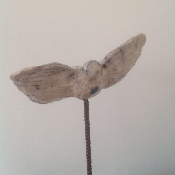 Pottery raku bird