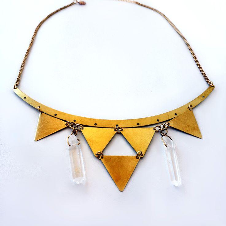 Lycidas collar necklace, raw brass triangle charms and quartz crystals  https://www.facebook.com/jewelrylycidas