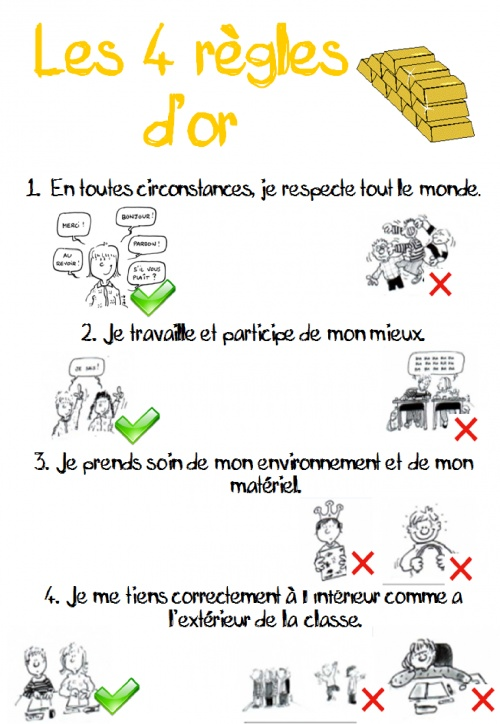 """Règles d'or"" -- four rules (in French) for encouraging appropriate classroom behavior (and reminding me of the relevant vocab)"