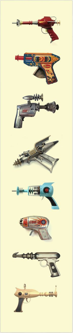 Vintage Futuristic Ray Guns - toys from Buck Rogers, and others during the 30s and 40s