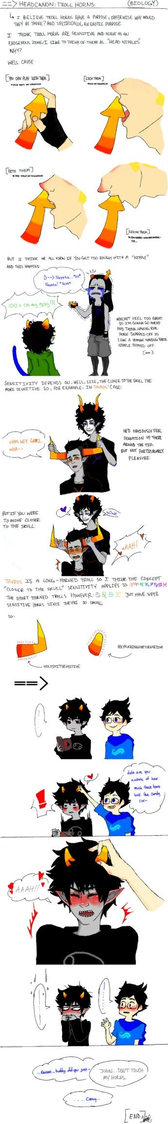 Homestuck for you, I really enjoy this had cannon, I want it to be official. XD this is probably already accurate cause johns obvi making karat very ummmmmmmm..... sensitive. lets use that...