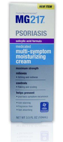MG217 Psoriasis Medicated Salicylic Acid Formula Multi-Symptom Cream, 3.5 Fluid Ounce. The fast absorbing cream provides greaseless, non-staining, non-irritating, soothing and moisturizing relief from redness, itching, and scaling. Not recommended for use on the scalp or face. Relieves itching, redness and moisturizes the skin with a 3% salicylic acid formula containing vitamin E. Controls flaking and scaling. Helps prevent psoriasis symptom recurrence. Non-staining, fragrance-free...