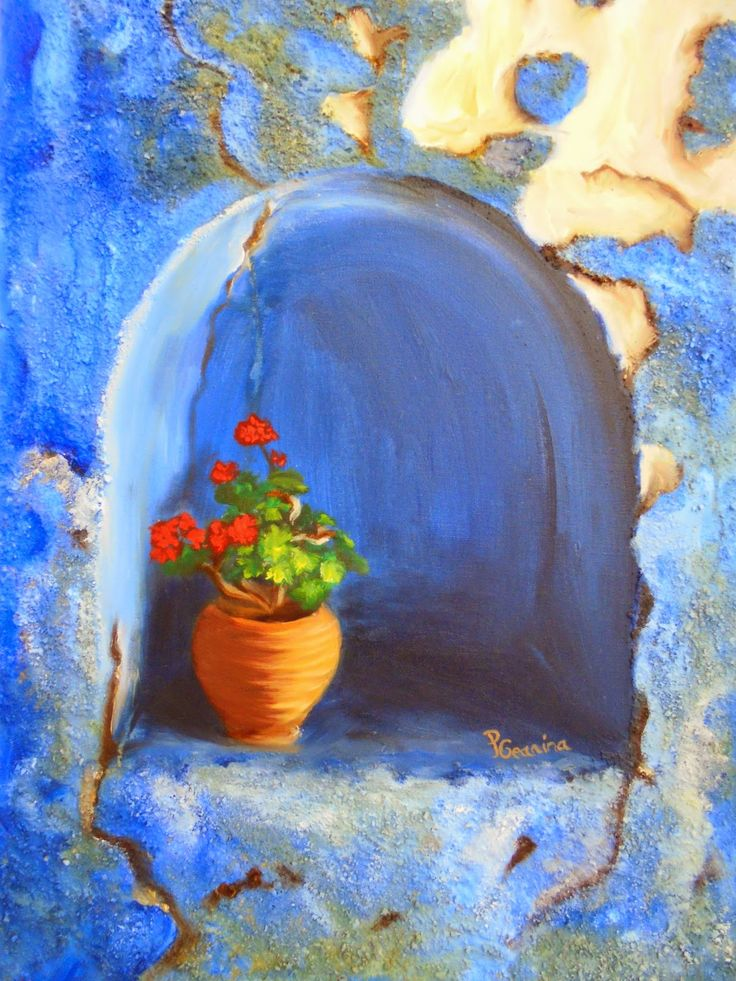 PrisecariuGeaninaArt:   Blue wall 60x40 oil and sand o canvas