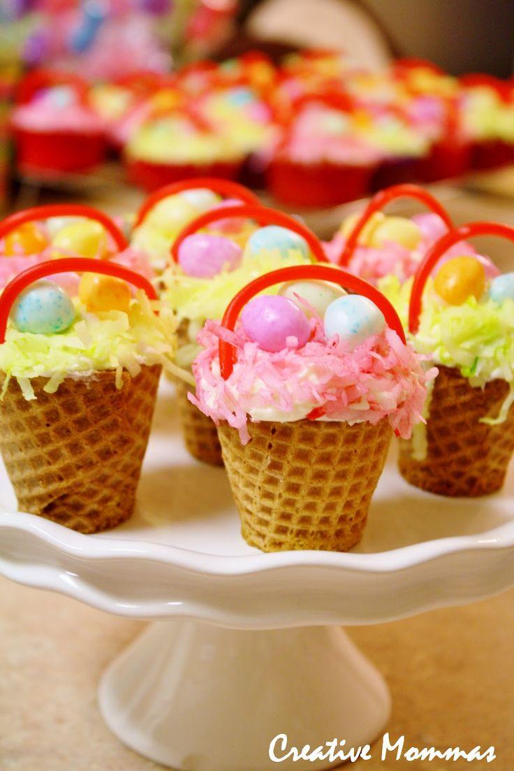Easter Basket Cupcakes Using Sugar Cones
