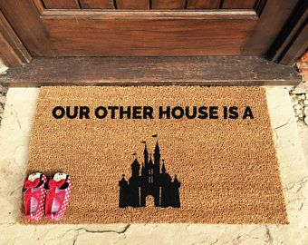 This doormat is perfect for Disney fans!   Let everyone know they are entering your Disney castle with this beautiful hand painted entrance mat.  Get yours - https://www.etsy.com/uk/listing/549372450/disney-doormat-door-mat-disney-gift?ref=shop_home_active_31