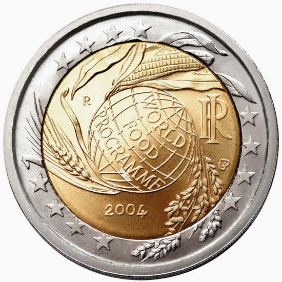 2 euro coins - Italy 2004, Fifth decade of the World Food Programme. Commemorative 2 euro coins from Italy
