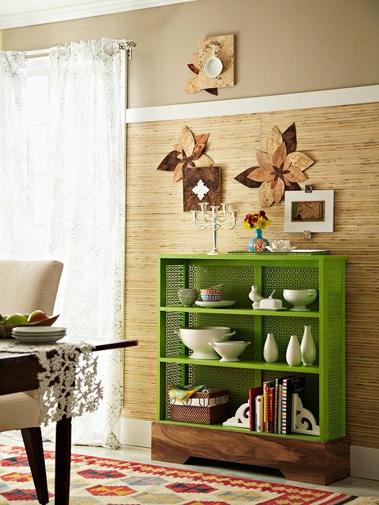 Home Decorating Tips - Multiple Shelf Arrangements: Group favorite objects in odd numbers — that setup is naturally more appealing to the eye than even-number groupings. Make a shelf display feel more like art than storage by staggering heights and shapes and putting a little breathing room between objects.