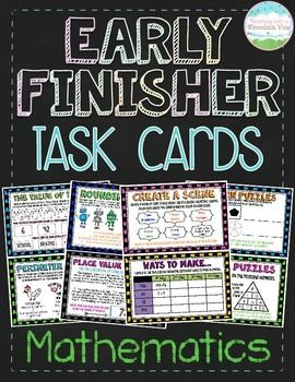 **FULL UPDATE JULY 2015** Engage and Challenge your early finishers with 24 detailed, multi-problem Early Finisher task cards!  Your students will love completing these cards when they have finished their work or as extra enrichment.  You can also use them task cards in math centers.