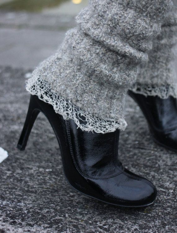 gift idea for her / womens legwarmers / oatmeal boot cuff / boot covers / grey beige boot socks / fashion